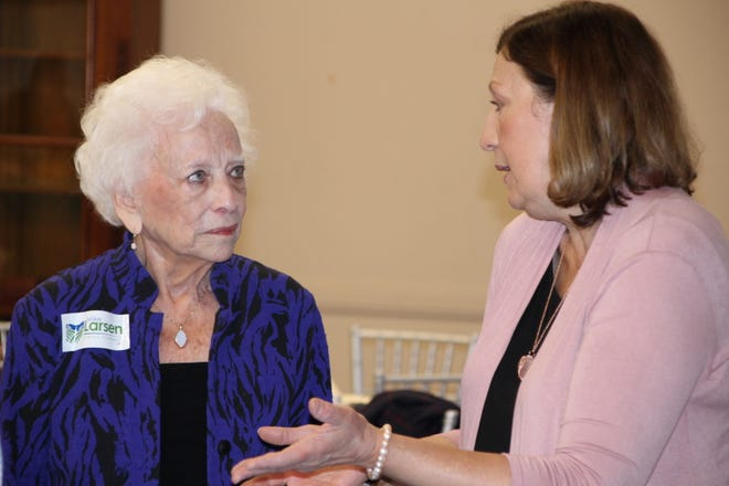Former United States Treasurer Mary Ellen Withrow, left, talks with Ohio Court of Appeals Judge Jennifer Brunner during the Marion County Democratic Club FDR Breakfast on Saturday. Brunner served as keynote speaker for the event. She is running for a seat on the Ohio Supreme Court.