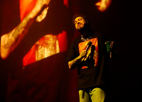 Post Malone performs at the FedExForum on Friday, March 6, 2020.