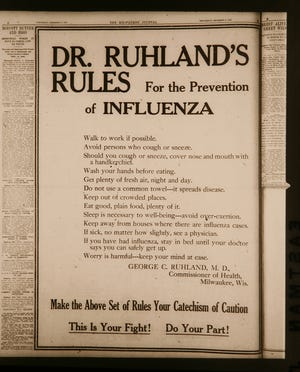 This notice from the Milwaukee health commissioner on how to prevent influenza ran in the Milwaukee Journal on Dec. 11, 1918, during the Spanish flu outbreak.