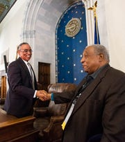 Federal Judge Myron Thompson greets Freedom Rider Bernard Lafayette, Jr., during the 2020 Congressional Civil Rights Pilgrimage in Montgomery, Ala., on Saturday March 7, 2020.