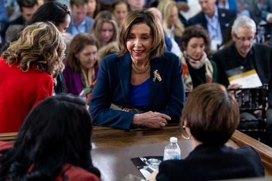 Speaker of the House Nancy Pelosi chats with Rep. Terri Sewell and Rep. Martha Roby during the 2020 Congressional Civil Rights Pilgrimage in Montgomery, Ala., on Saturday March 7, 2020.