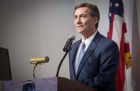Muncie Mayor Dan Ridenour gives his first State of the City address on March 7, 2020 at the Ivy Tech Fishers Building in downtown Muncie.