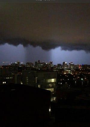 This dramatic photo taken from the Vanderbilt LifeFlight helipad at Vanderbilt University Hospital shows the storm moving across downtown Nashville early Tuesday morning.
