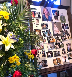 A display of Brandy Barker photos greeted visitors at Sellars Funeral Home in Lebanon, Tenn., on Saturday, March 7, 2020.  Barker, 38, was killed when tornadoes tore through Middle Tennessee on March 3.