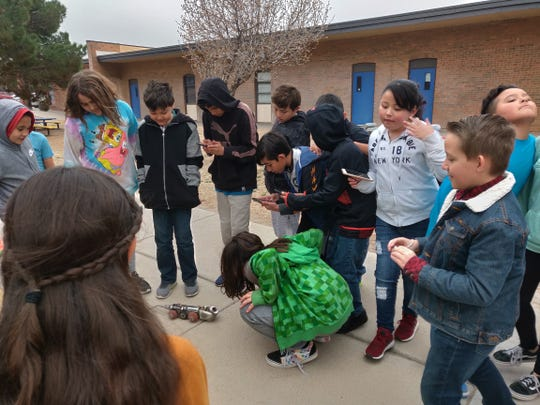 Hillrise Elementary teacher Ken Strawn's class meets the LCU robotic sewer truck and see it in action in an above-ground demonstration.