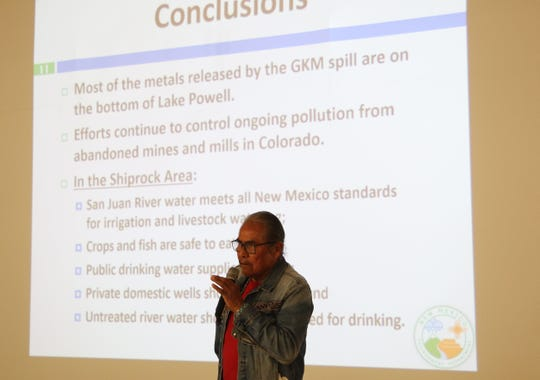 """Shiprock Chapter President Duane """"Chili"""" Yazzie speaks in the Navajo language about the purpose of a listening session by the New Mexico Environment Department on March 5 at the Shiprock Chapter house."""