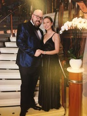 Sean and Heather Boyles are pictured during a formal dinner on the Grand Princess Cruise Ship.