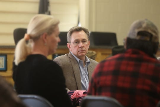 Bill Jackson, center, listens to a comment about stigma surrounding produce grown using water from the San Juan River during a listening session on March 5 at the Shiprock Chapter house. Jackson is an attorney representing New Mexico in its lawsuit regarding the Gold King Mine spill.