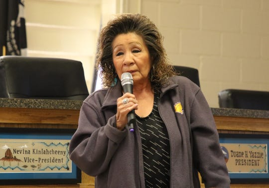 Shiprock resident Bertha Etsitty talks about how the Gold King Mine spill has impacted her ability to sell produce from her farm during a listening session by the New Mexico Environment Department on March 5 at the Shiprock Chapter house.