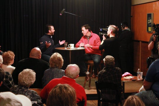 Donald Trump Jr., left, answers a question Friday, March 6, 2020, from Axios cofounder and Oshkosh native Jim VandeHei during a sit-down interview at Oblio's Lounge, 434 N. Main St., Oshkosh.
