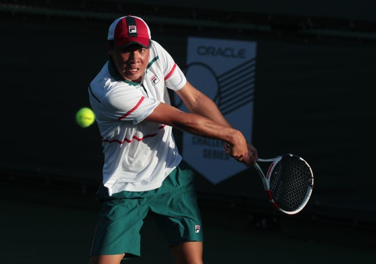Brandon Nakashima defeated fellow American Marcos Giron during the Oracle Challenger Series at the Indian Wells Tennis Garden in Indian Wells, Calif., on Friday, March 5, 2020.