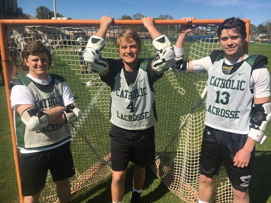 Catholic lacrosse is relying on leadership from seniors (L to R) Hayden Strickland, Bryant Mixon and John McDowell.