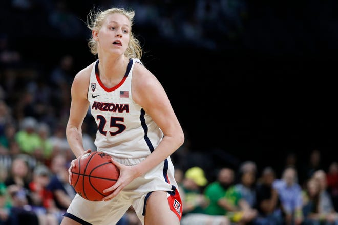 Arizona's Cate Reese (25) plays against California during a NCAA college basketball game in the quarterfinal round of the Pac-12 women's tournament Friday, March 6, 2020, in Las Vegas. (AP Photo/John Locher)