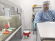 A scientist at the Translational Genomics Research Institute in Flagstaff prepares to work with a live sample of COVID-19.
