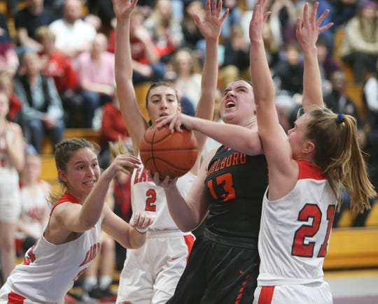 Marlboro's Erin Lofaro fights through the Onteora defense to take a shot during the Section 9 class B championships in Newburgh on March 6, 2020.