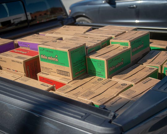 A treasure trove of Girl Scout cookies ready for delivery to local troops.
