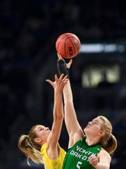 SDSU and North Dakota tip off the ball during the Summit League tournament on Saturday, March 7, 2020 at the Denny Sanford Premier Center.