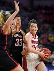 USD's Ciara Duffy (24) drives toward the basket during the Summit League tournament against Omaha on Saturday, March 7, 2020 at the Denny Sanford Premier Center.
