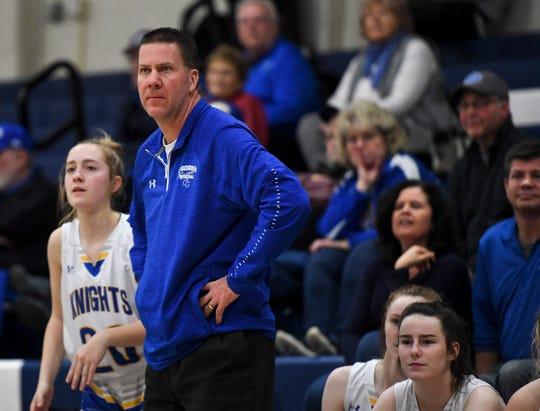 O'Gorman head coach Kent Kolsrud watches the game against Douglas on Friday, March 6, 2020 at O'Gorman High School in Sioux Falls.
