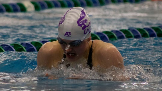 University of Sioux Falls sophomore Lizzy Spaans competes at the NSIC meet in Bismarck, N.D. earlier this year. The Brandon native has qualified to compete in the NCAA Division II meet this week in Ohio.