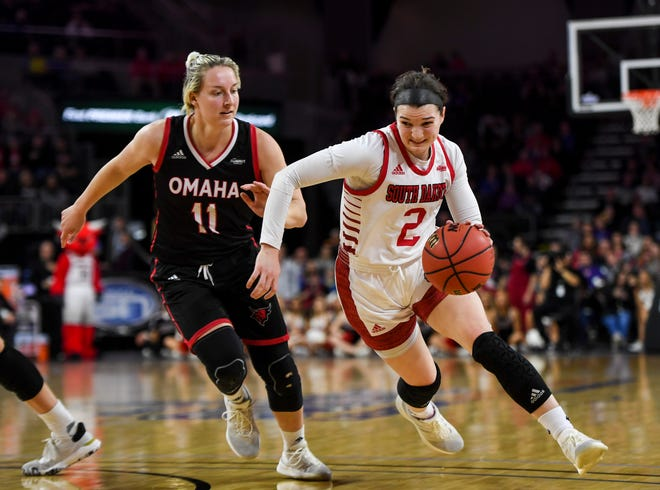 USD's Liv Korngable (2) drives toward the basket during the Summit League tournament game against Omaha on Saturday, March 7, 2020 at the Denny Sanford Premier Center.