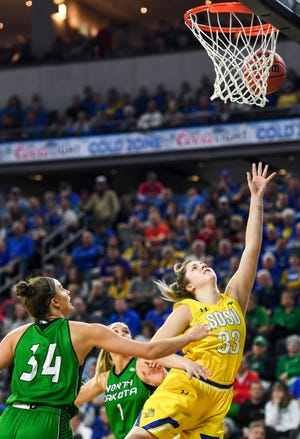 SDSU's Paiton Burckhard (33) goes up for a shot SDSU during the Summit League tournament game against North Dakota on Saturday, March 7, 2020 at the Denny Sanford Premier Center.
