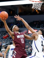 Scenes from Missouri State v. Indiana State at the Missouri Valley Conference Tournament, Friday, March 6, 2020, at the Enterprise Center in St. Louis.