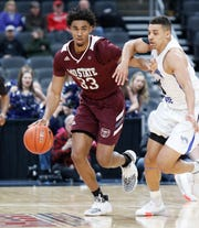Missouri State's Josh Hall (33) moves the ball against Indiana State at the Missouri Valley Conference Tournament, Friday, March 6, 2020, at the Enterprise Center in St. Louis.