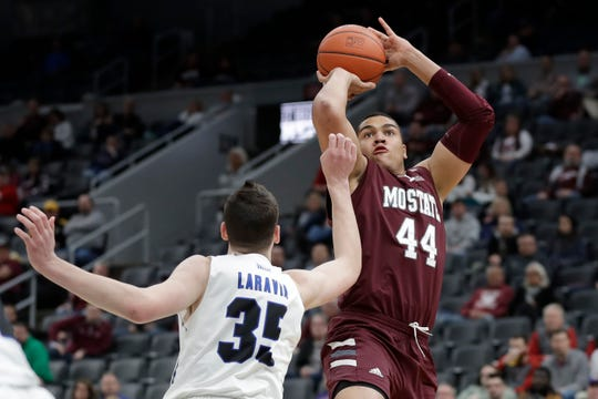 Missouri State's Gaige Prim (44) shoots over Indiana State's Jake LaRavia (35) during the second half of an NCAA college basketball game in the quarterfinal round of the Missouri Valley Conference men's tournament Friday, March 6, 2020, in St. Louis.