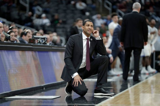 Missouri State head coach Dana Ford is seen on the sidelines during the first half of an NCAA college basketball game against Indiana State in the quarterfinal round of the Missouri Valley Conference men's tournament Friday, March 6, 2020, in St. Louis. (AP Photo/Jeff Roberson)