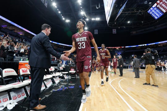 Missouri State's Josh Hall (33) walks off the court after the Bears defeated Indiana State at the Missouri Valley Conference Tournament, Friday, March 6, 2020, at the Enterprise Center in St. Louis.