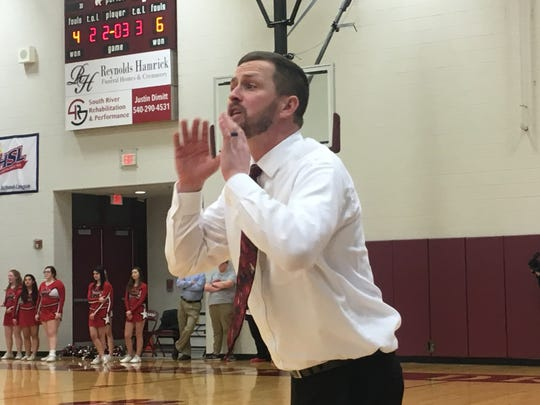 Riverheads coach Chad Coffey on Friday night during the game against Mathews in the Class 1 state quarterfinals at Stuarts Draft.