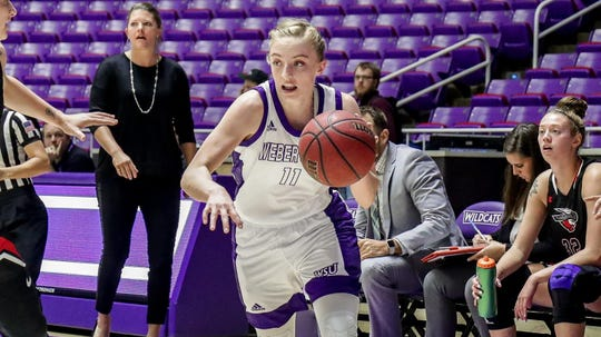 Weber State guard Liz Graves during a game for the Wildcats earlier this season. Graves averaged 9.6 points per game in 20 games this season.