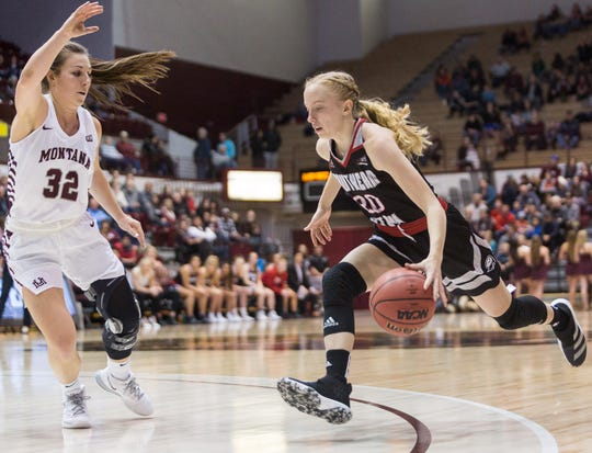 SUU freshman guard Madelyn Eaton drives against the University of Montana earlier this season. Eaton has averaged 7.6 points per game in 28 games during her freshman season.