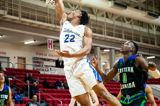 DeAndre Gholston scored 9 points to help TCC secure a 49-34 win over Eastern Florida State College in the semifinals of the 2020 Region VIII tournament.