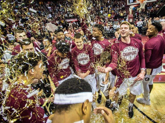 The Florida State Seminoles celebrate the ACC regular season title, Saturday, March 7, 2020.
