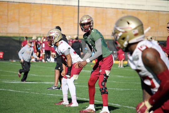 FSU QB James Blackman at the first practice of spring football on March 7, 2020.