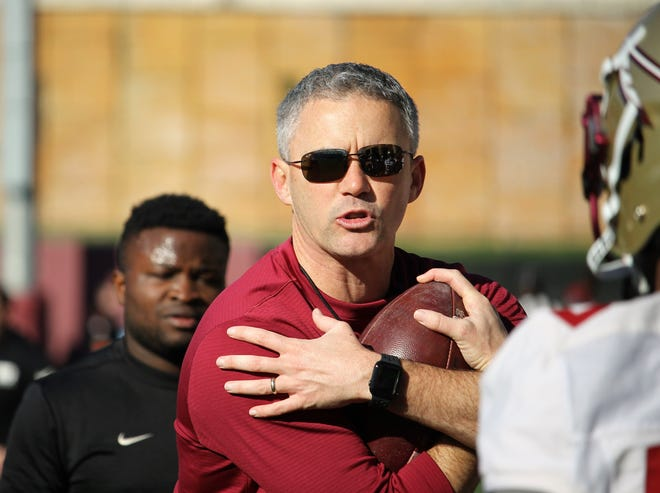 FSU coach Mike Norvell at the first practice of spring football on March 7, 2020.