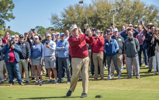 Golf legend Jack Nicklaus tees off at the new Seminole Legacy Course he helped redesign Saturday morning.