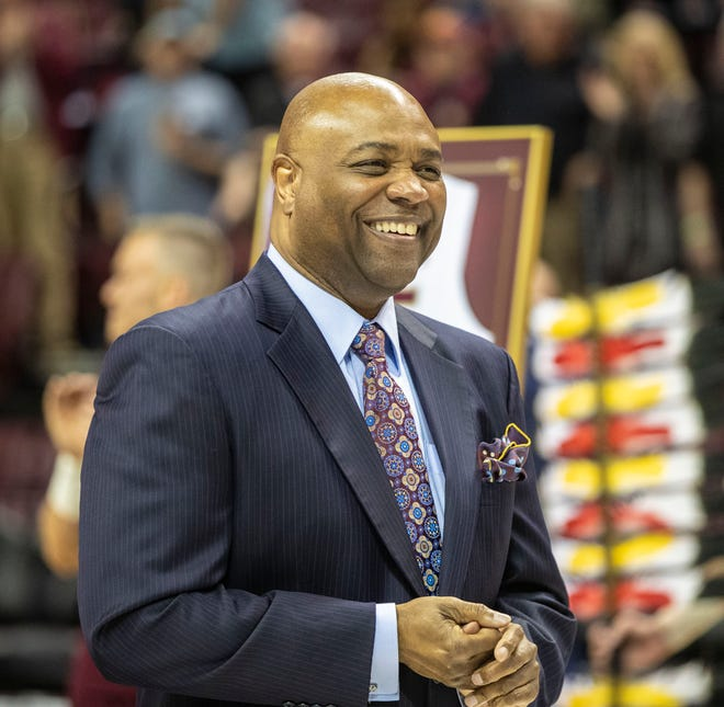 Florida State Seminoles head coach Leonard Hamilton smiles as his senior players are honored before a game against Boston College, Saturday, March 7, 2020.