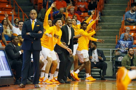 UTEP celebrates during the game against Eastern New Mexico Friday, Nov. 15, at the Don Haskins Center in El Paso.