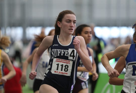 Suffern's Mary Hennelly competes in the 1000-meter run during the NYSPHSAA Indoor Track & Field Championships at the Ocean Breeze Athletic Complex in Staten Island on Saturday, March 7, 2020.