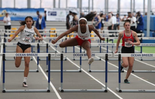 North Rockland's Nadia Saunders competes in the 55-meter hurdle preliminaries during the NYSPHSAA Indoor Track & Field Championships at the Ocean Breeze Athletic Complex in Staten Island on Saturday, March 7, 2020.