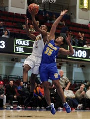 Trayvon Turner of Biondi drives to the basket during the Section 1 Class D championship against Children's Village on March 6, 2020 at the Westchester County Center in White Plains.