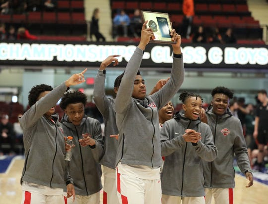 Game action between Alexander Hamilton and Tuckahoe during the Section One Class C Boys Championship game at the Westchester County Center in White Plains, March 7, 2020.
