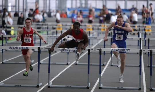 North Rockland's Emanuel Joseph competes in the 55-meter hurdle preliminaries during the NYSPHSAA Indoor Track & Field Championships at the Ocean Breeze Athletic Complex in Staten Island on Saturday, March 7, 2020.