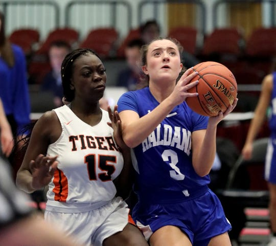 Haldane's Isabela Monteleone goes up for a shot in front of Tuckahoe's Briana Bodjolle during the Haldane vs. Tuckahoe Section One Class C Girls Championship at the Westchester County Center in White Plains, March 7, 2020.