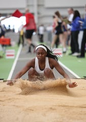 North Rockland's Nadia Saunders competes inthe triple-jump during the NYSPHSAA Indoor Track & Field Championships at the Ocean Breeze Athletic Complex in Staten Island on Saturday, March 7, 2020.