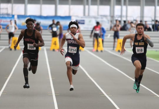 Stepinac's Nazir Hibbert competes in the 55-meter dash preliminaries during the NYSPHSAA Indoor Track & Field Championships at the Ocean Breeze Athletic Complex in Staten Island on Saturday, March 7, 2020.