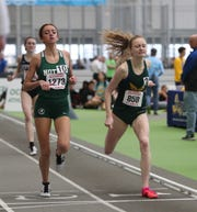 FDR's Sarah Trainor crosses the finish line in the 1000-meter run during the NYSPHSAA Indoor Track & Field Championships at the Ocean Breeze Athletic Complex in Staten Island on Saturday, March 7, 2020.